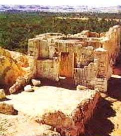 Remains of the Temple of Jupiter Amon, high above the date and olive orchards. The oracle of the temple was famed throughout the classical world for her ability to foretell the future.