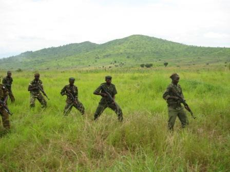 Defensive training - ex-rebels now part of a Burundi military contingent going to Somalia.