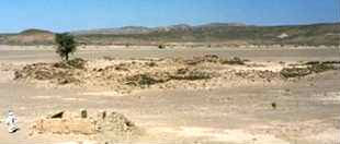 One of the many, hand-dug wells (front, left) throughout the area – this one on the caravan route of Kanais that connects the Red Sea with the Nile Valley.  In the background are ruins of a Roman  fort, built for protecting trade caravans from marauding Beja tribes. - Source:  Francis Lankester