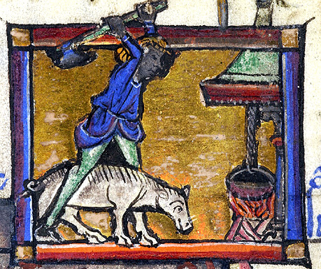 November.  Preparing to slaughter a goat. Arras, France 1243