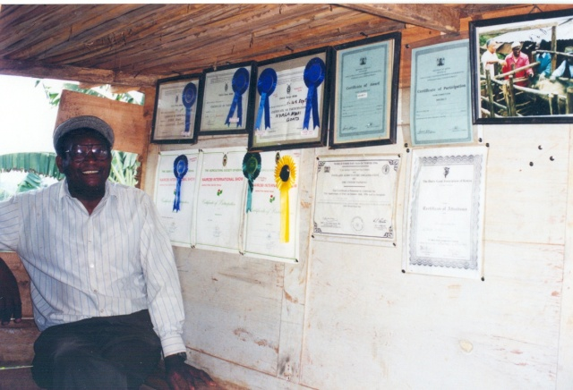 A retired school teacher in Kenya who, thanks to agricultural shows and related training, is now raising someof the finest dairy goats in the country.