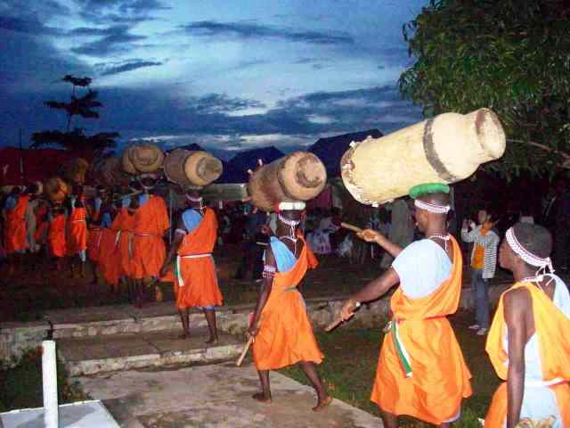 Ntori drummers then come to drum and sing