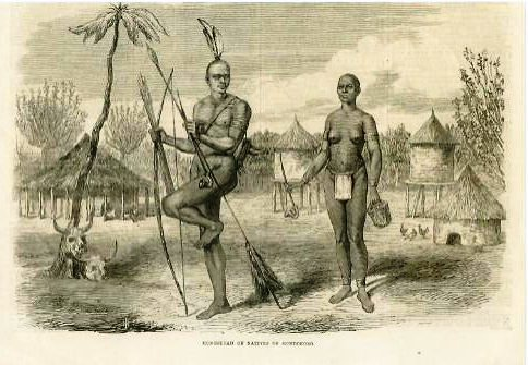 Coloseup of the Latooka village, showing the manner of resting by men.  Source:  University of Texas
