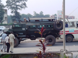 Armored troop carrier, part of the African Union peace keeping effort.   Photo taken from my favorite Chinese restaurant.   For a time these were the  convoy escort, in visiting recently demobilized rebels in camps by the African Union.