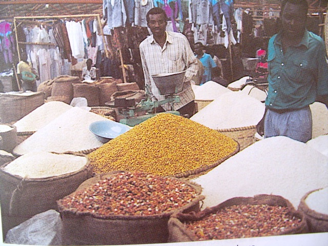Central market of Bujumbura - beans and rice of different quality