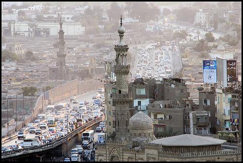 Freeway traffic in Cairo.  Source: Flikr - ecreves