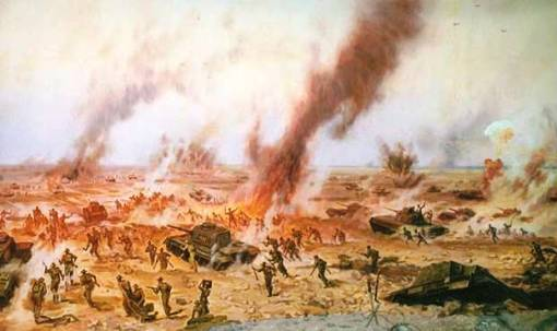 Depiction of the battle at al-Alamein, allies and Germans.  Source: (c)  Galen R. Frysinger