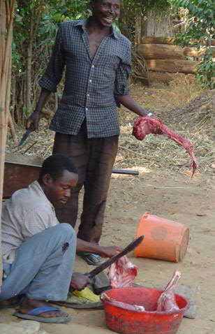 Butchering, village style, by a couple of the staff