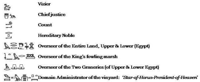 Some of Kagemni's titles that I've selected.  Source:  Osirusnet