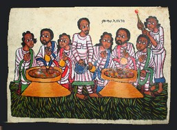 Meal with tej.  Painting on cow hide.  Source:  Univ. of Pittsburg