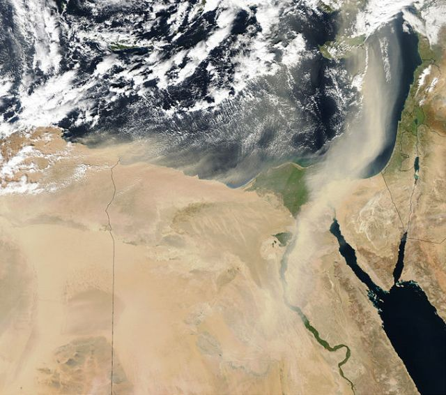 This satellite image shows progression of a massive dust storm travelling across the nile valley, with the northern part moving towards the Levant.  Source:  Wikipedia