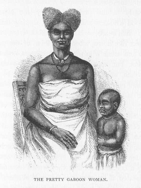 A woman and child of the Mpongwe clan, Gaboon River West Africa.  Source:  Burton - Two Trips to Gorill Land.  1851