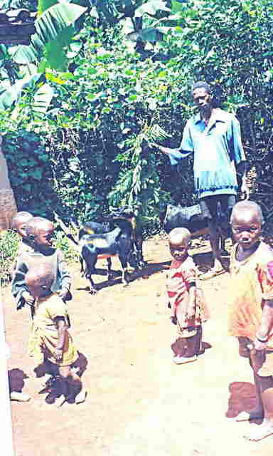 A widower with his children, all suffering from moderate to severe malnutrition.  A family with whom we worked to improve animal husbandry