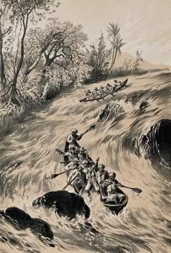 Livingstone descending the Zambesi rapids.  Source:  Wellcome Library, London
