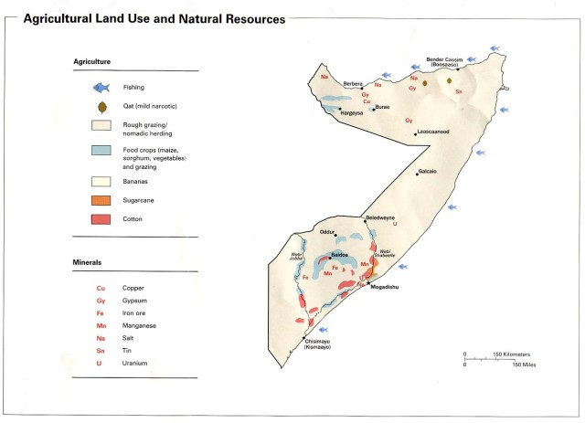 Economic and natural resource map of Somalia.  Source:  biyokulule.com