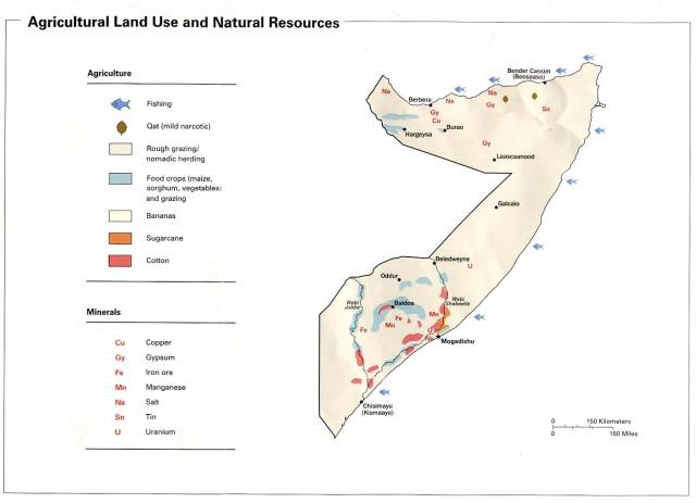 Economic and natural resource map of Somalia.  Source:  biyokulule.com
