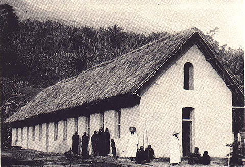 An example of a mission school in Africa. The game was originally introduced to the native populations by colonizers in institutions like this one.