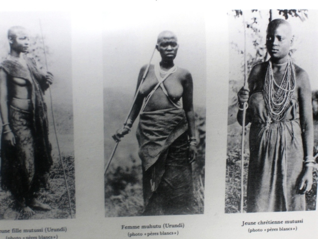 A blending of colonial political and missionizing goals in 19th.C. Burundi:  The left = a Tutsi considered 'part Hamitic' ('superior' race), in the middle a Hutu considered fully 'Bantu' ('inferior' race) and right = a Christianized Tutsi ('best of both worlds').   Source:  Durch Massailand zur Nilquelle (By Massailand to the Source of Nile), Oscar Baumann, Berlin (1894)
