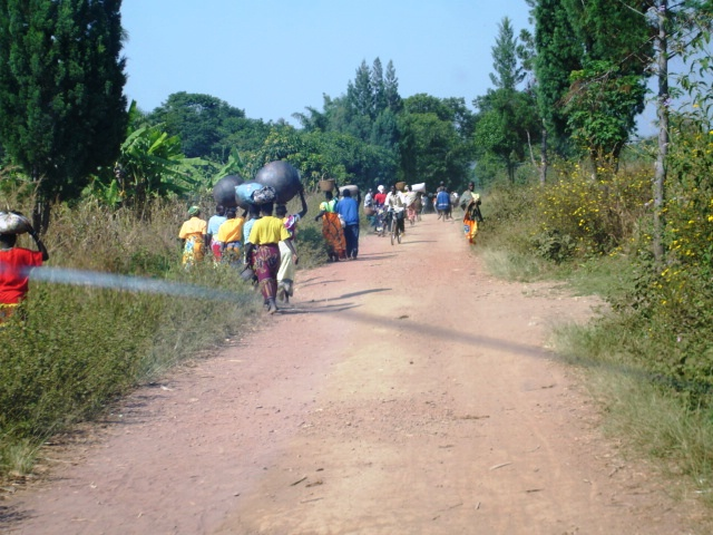 Tarffic from a local market - women are transporting BaTwa (pygmie produced) pots, which are used in local cuisines.