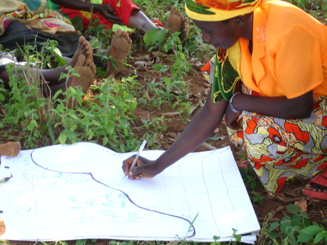 A group of women drawing their transect after returning from walking along it.