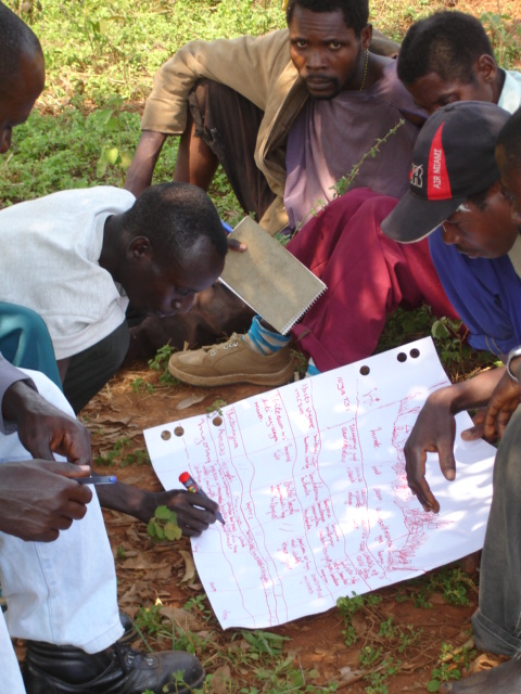 A local group of men discussing and filling out their transect