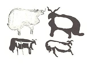 Rock engravings of fat-tailed sheep from central Arabia, second or early first millennium BC.  Source FAO, Anati, 1968