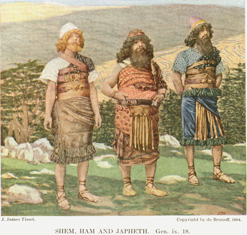 Shem, Ham and Japheth, by James Jacques Joseph Tissot.  1902.  Source: de Brunoff