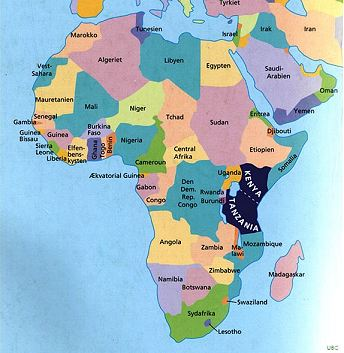 Somalia is the 'horn' shaped country to the N.E. of the dark blue (Kenya and Tanazania)
