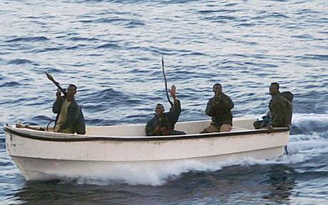 Pirates off the coast of Somailia.  Source:  Daily Telegraph, UK