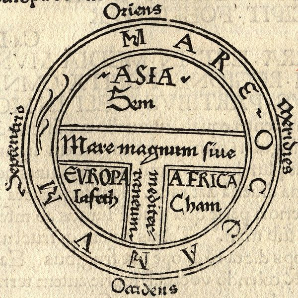 T & O map of Guntherus Ziner, 1472.  Asia is at the top, europe the bottom left, and Africa the bottom right.  The medeterranean is in the middle and the ocean surrounds.  Source:  Wikipedia