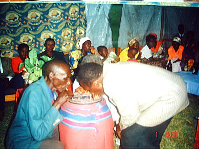 Pombe as part of the engagement ceremony, Omer and Deo, sealing the engagement of their children, a few years ago.