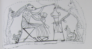 Muse in a pleated costume being attended by cats.  Source - Deir el-Medina.