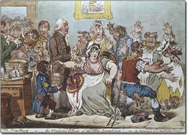 Edward Jenner at the Smallpox Inoculation Hospital, St Pancras, 1801. Source -  Wiki