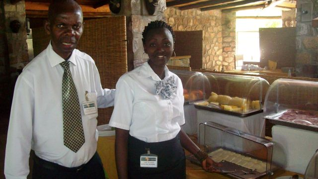 Sliced, local cheese  is always offered at the breakfast buffet, at the Hotel Club du Lac Tanganyika