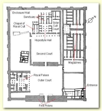 Seti I Mortuary Temple, left bank of Luxor.  Source - proteus.brown.edu