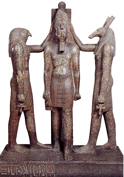 The gods horus and seth crowning Ramesses III.  Source - ancientegypt.org