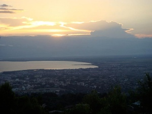The northern end of the lake as seen from above Bujumbura.  The finger sticking out is the Rusizi Wetlands.  See following photo.