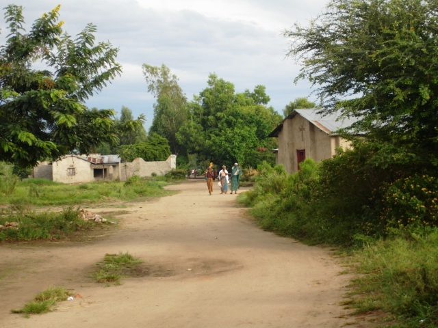 The main street of Kajaga, a vew years ago.  Bucholic - but with no electricity, multiple water points, or good security.
