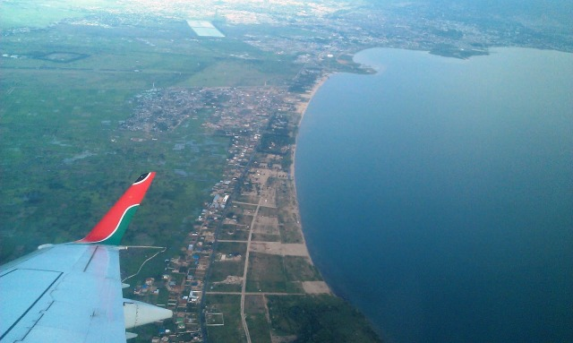 Taken recently, towards Bujumbura, showing the recent explosion of homes and resorts along the lake and to the back.  Source: notrustingaway.blogspot.com