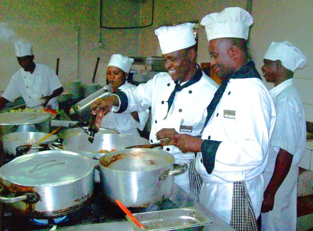 Chef Richard and staff preparing a bean dish with all the trimmings.