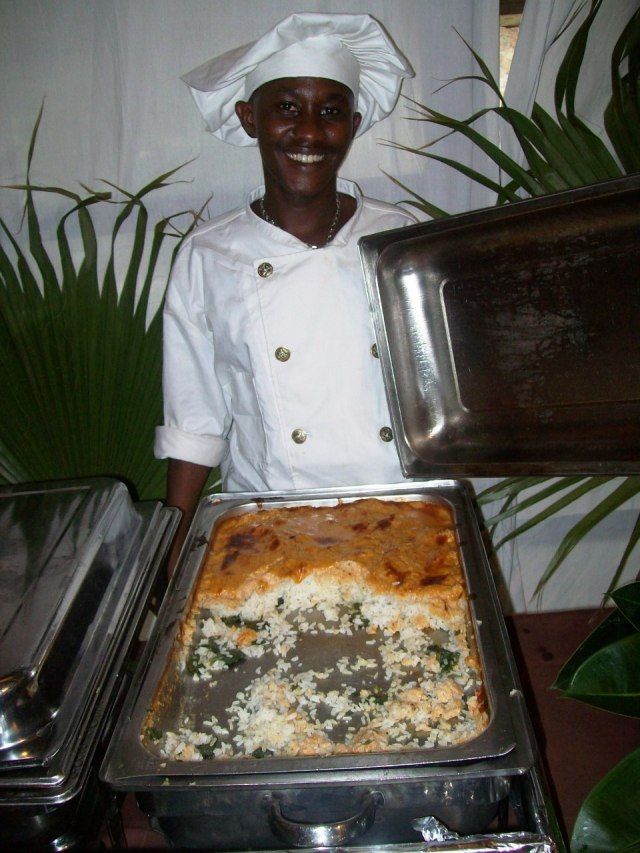 'Petit'-chef Claud, presenting rice cooked wth amaranth greens and beans.