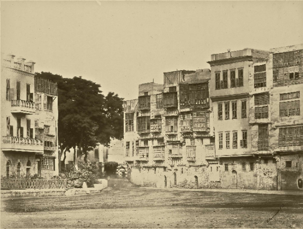 Coptic Houses in Esbekyeh Square, Cairo, by W. Hammerschmidt, c. 1860-1863.  Source:  copticliterature.wordpress.com