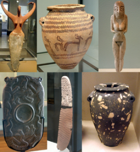 A collage of six predynastic artifacts from ancient Egypt. Sedges were collected and consumed at the time these artifacts from southern Egypt were made - c. 3500 BCE (Photo credit: Wikipedia)