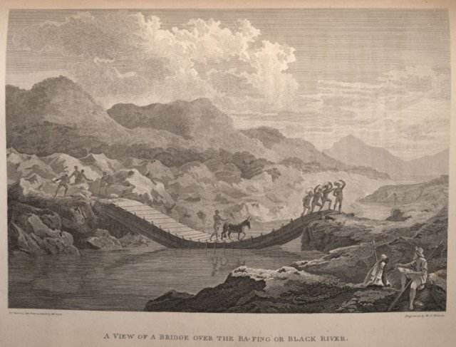 Crossing a bridge, from: Travels in the interior districts of Africa in the years 1795, 1796, 1797.