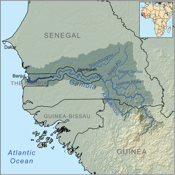 Watershed of the Gambia river.  The Gambia is the smallest country in Africa, being a long, thin 'finger', extending several hundred miles from the Atlantic into the interior, and surrounded by Senegal, a former French colony.   Source: Wikipedia