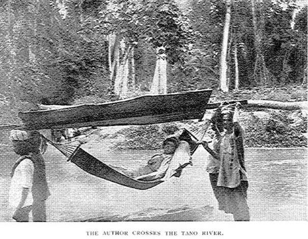 Mary Gaunt travelled over 700 miles in a hammock.  This method of transport was used prior to colonialism in west Africa and was adopted by all visitors.  Source:  Gaunt-Alone in West Africa