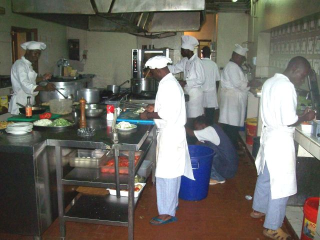 On Sundays there is always a large buffet, which keeps the kitchen staff busy.