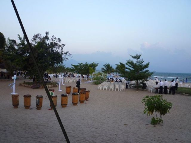 A wedding, set up on the beach.