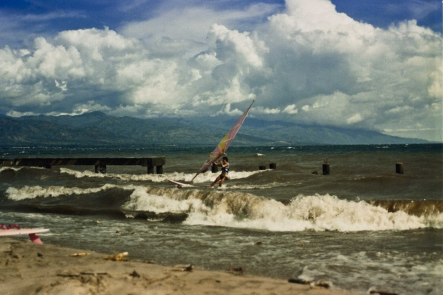 A particularly windy day, in front of Hotel Club du Lac Tanganyika.  1998