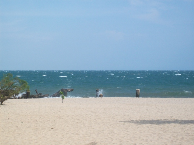 High winds and waves  are common in the afternoons, making boating difficult and often dangerous.  This photo was taken in front of the Hotel Club du Lac Tanganyika.
